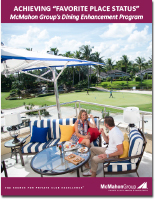 Dining Brochure Cover featuring a beautiful club with a couple enjoying lunch