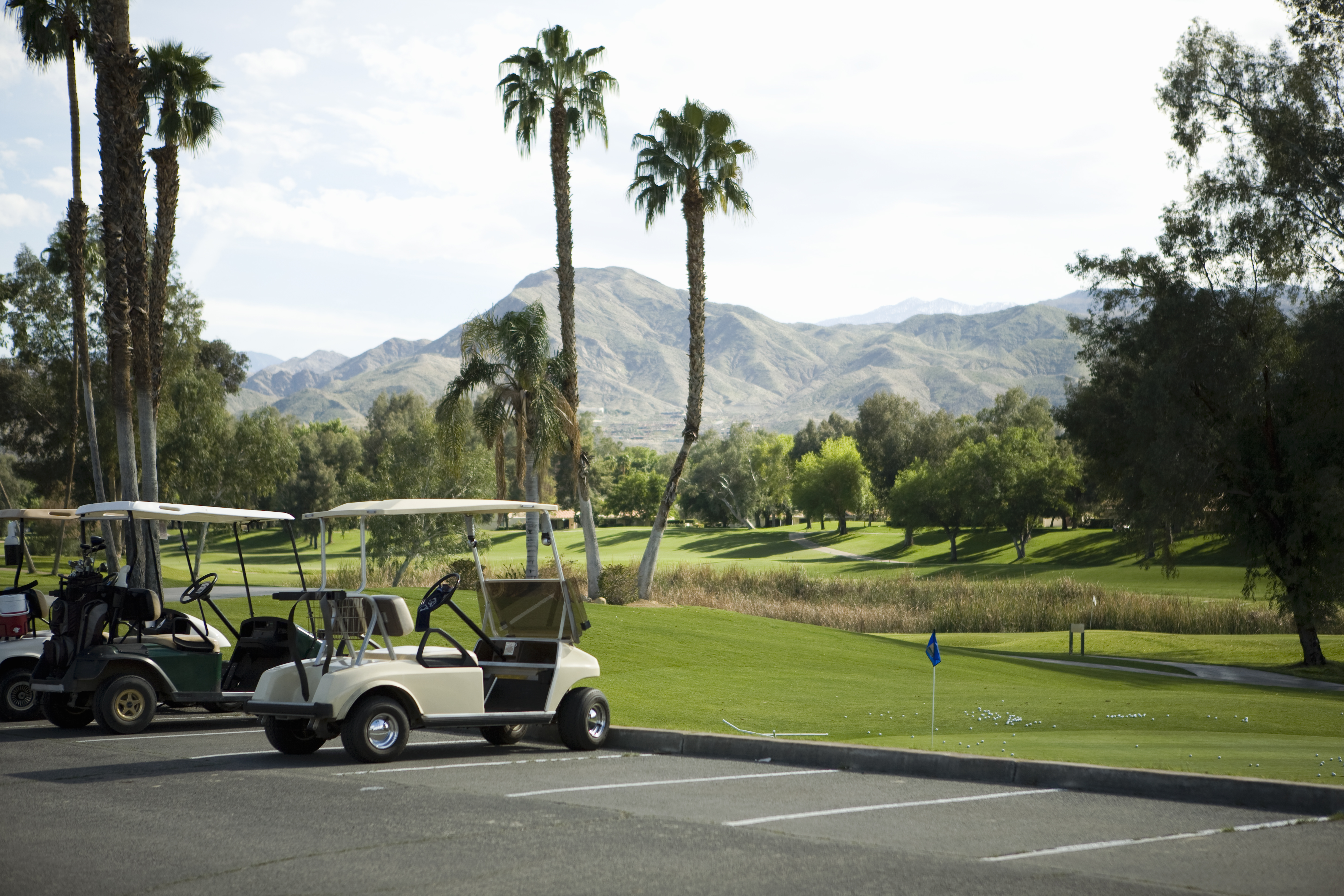 Golf carts parked at a golf club, Palm Springs, California, USA
