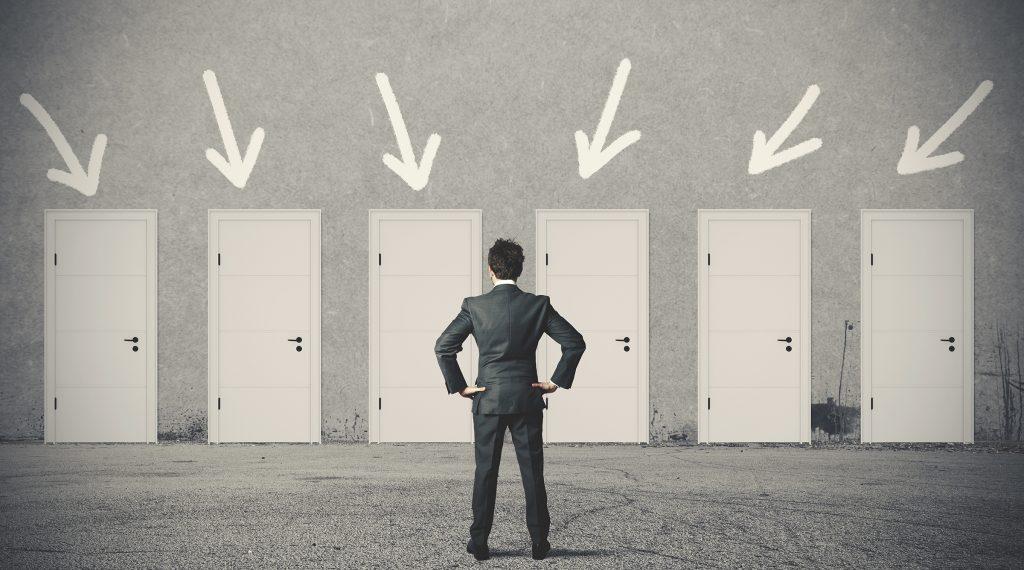 20411748 - concept of businessman choosing the right door