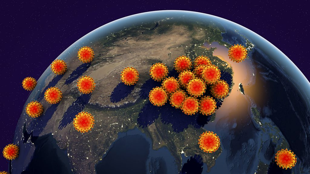 Global spread of a Novel Wuhan coronavirus, conceptual image