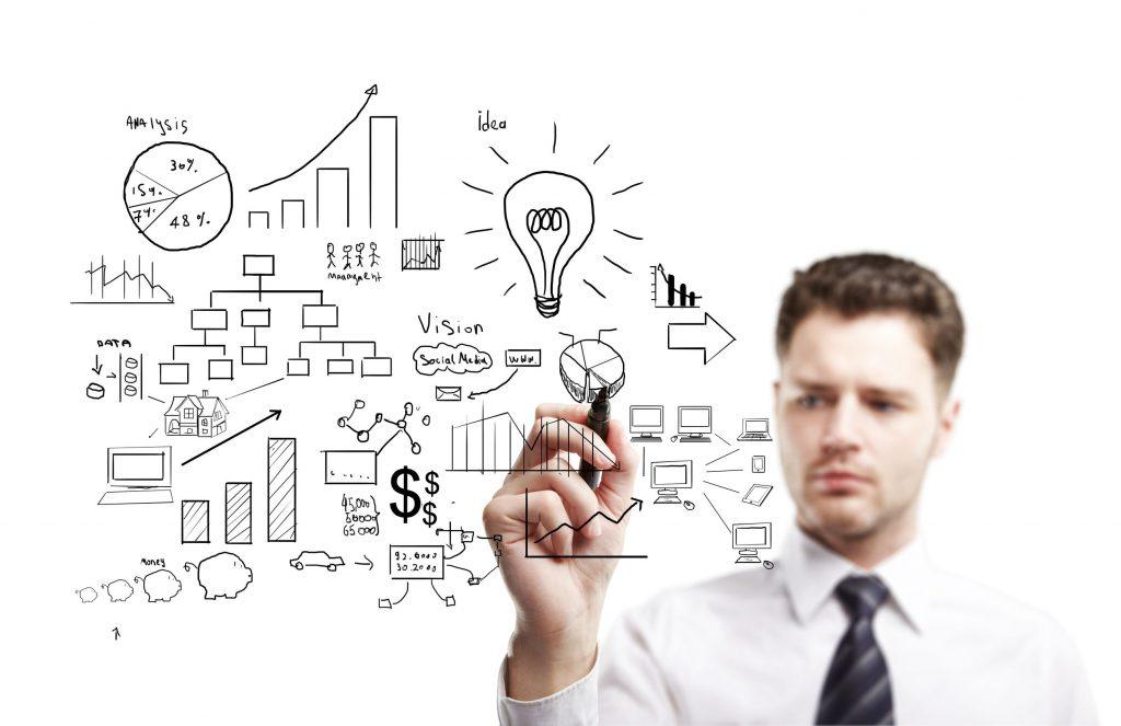 14703536 - man drawing plan strategy success
